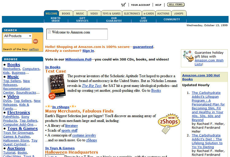 That's what Amazon looked like in 1999