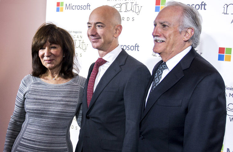 Jeff Bezos with mom and adoptive father